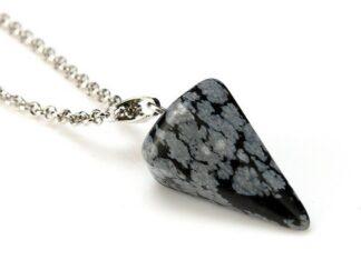 Pendule obsidienne flocon de neige