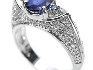 Bague saphir bleu - argent