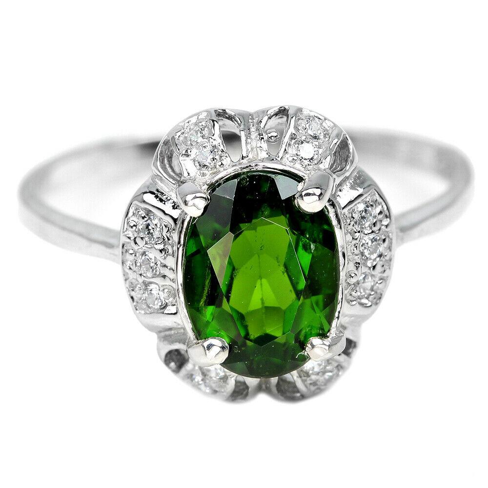 Bague avec Chrome Diopside verte - Argent Sterling 925