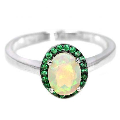 Opale Rainbow + zircon vert bague en argent