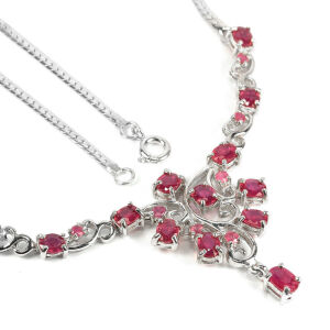 Ruby argent collier 45cm